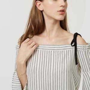 LOFT Off-The-Shoulder Pinstriped Blouse